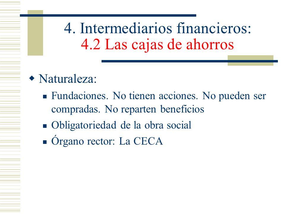 4. Intermediarios financieros: 4.2 Las cajas de ahorros Naturaleza: Fundaciones. No tienen acciones. No pueden ser compradas. No reparten beneficios O