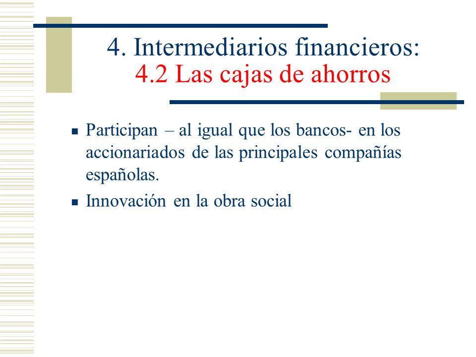 4. Intermediarios financieros: 4.2 Las cajas de ahorros Participan – al igual que los bancos- en los accionariados de las principales compañías españo