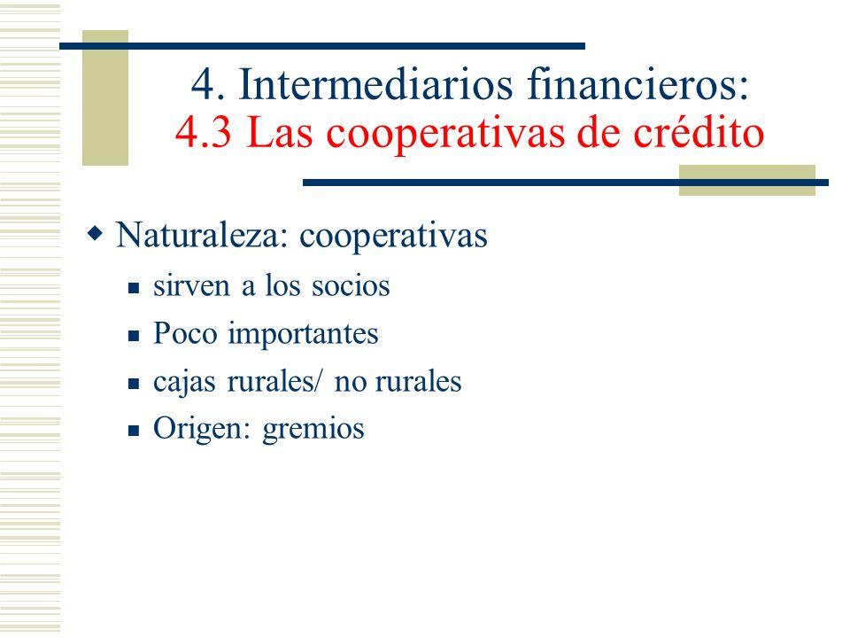 4. Intermediarios financieros: 4.3 Las cooperativas de crédito Naturaleza: cooperativas sirven a los socios Poco importantes cajas rurales/ no rurales