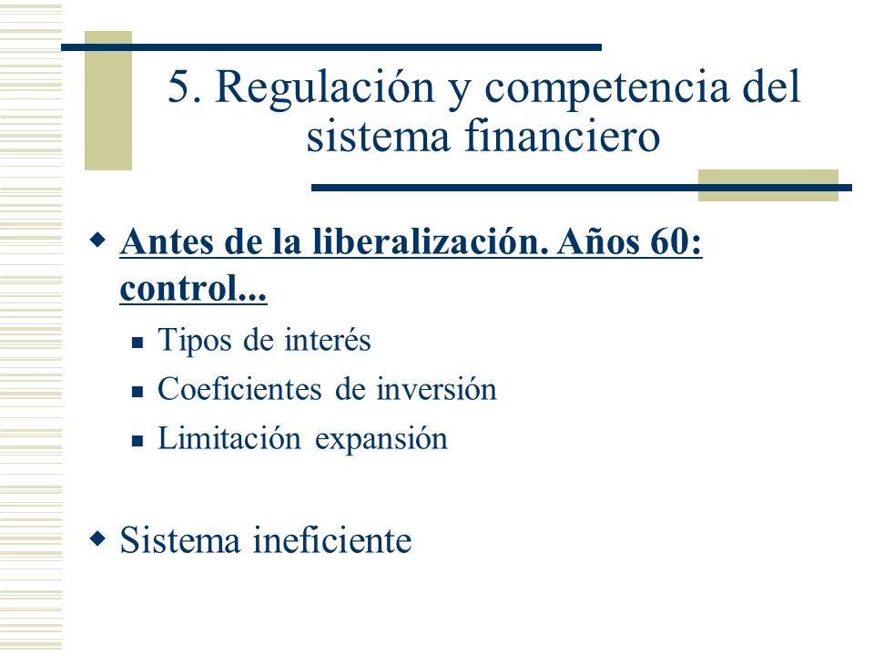 5. Regulación y competencia del sistema financiero Antes de la liberalización. Años 60: control... Tipos de interés Coeficientes de inversión Limitaci