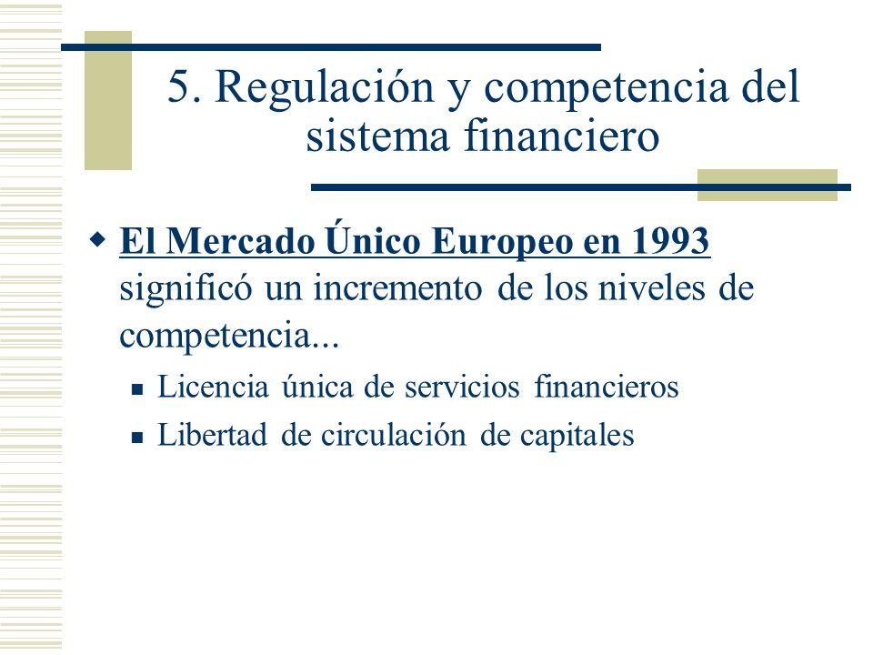 5. Regulación y competencia del sistema financiero El Mercado Único Europeo en 1993 significó un incremento de los niveles de competencia... Licencia