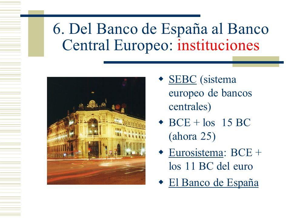 6. Del Banco de España al Banco Central Europeo: instituciones SEBC (sistema europeo de bancos centrales) BCE + los 15 BC (ahora 25) Eurosistema: BCE