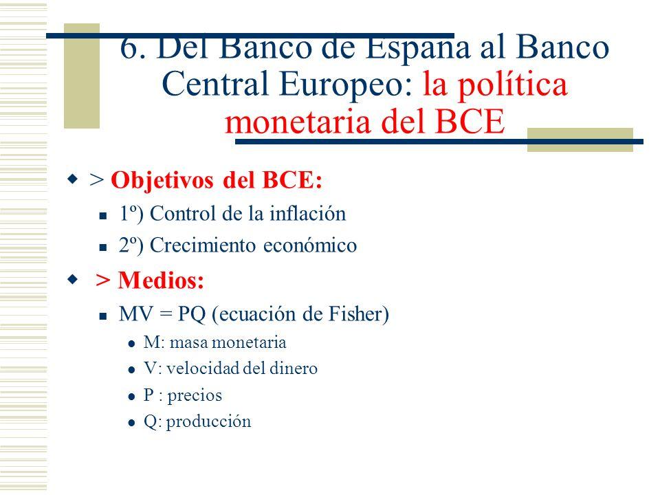 6. Del Banco de España al Banco Central Europeo: la política monetaria del BCE > Objetivos del BCE: 1º) Control de la inflación 2º) Crecimiento económ