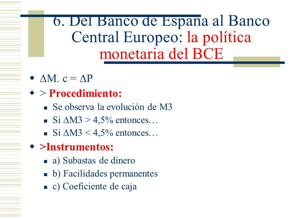6. Del Banco de España al Banco Central Europeo: la política monetaria del BCE M. c = P > Procedimiento: Se observa la evolución de M3 Si M3 > 4,5% en