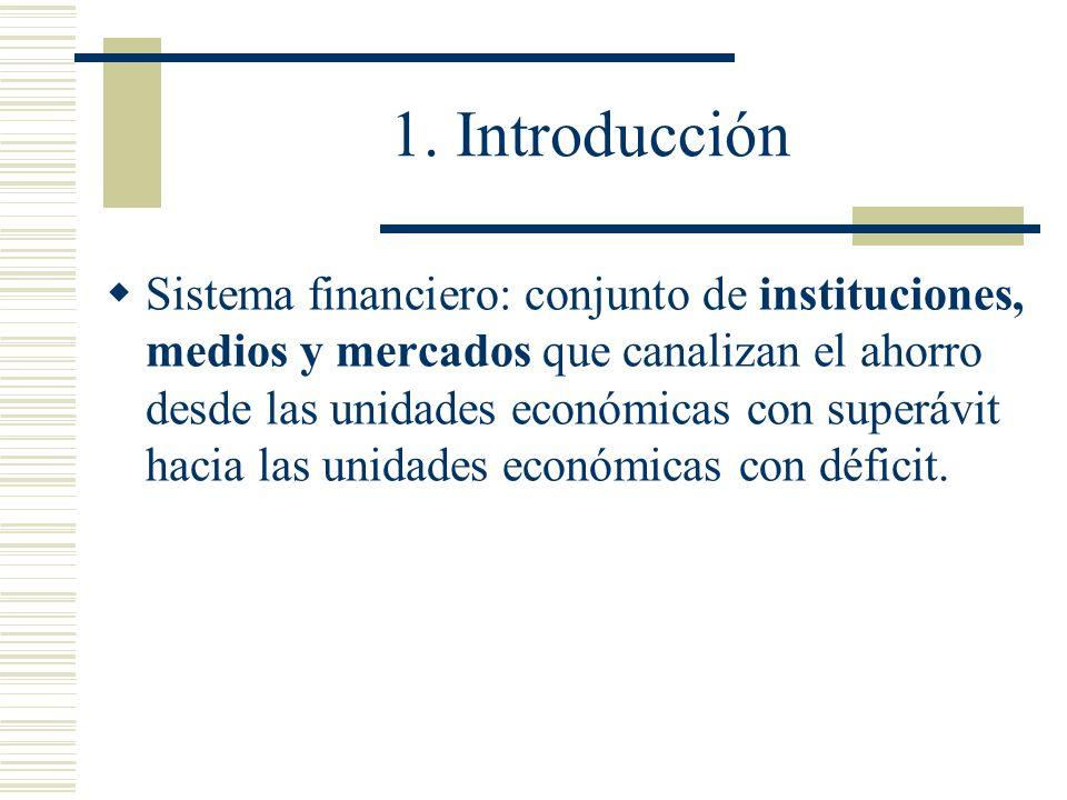 1. Introducción Sistema financiero: conjunto de instituciones, medios y mercados que canalizan el ahorro desde las unidades económicas con superávit h