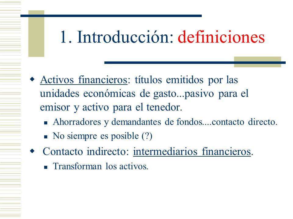 1. Introducción: definiciones Activos financieros: títulos emitidos por las unidades económicas de gasto...pasivo para el emisor y activo para el tene