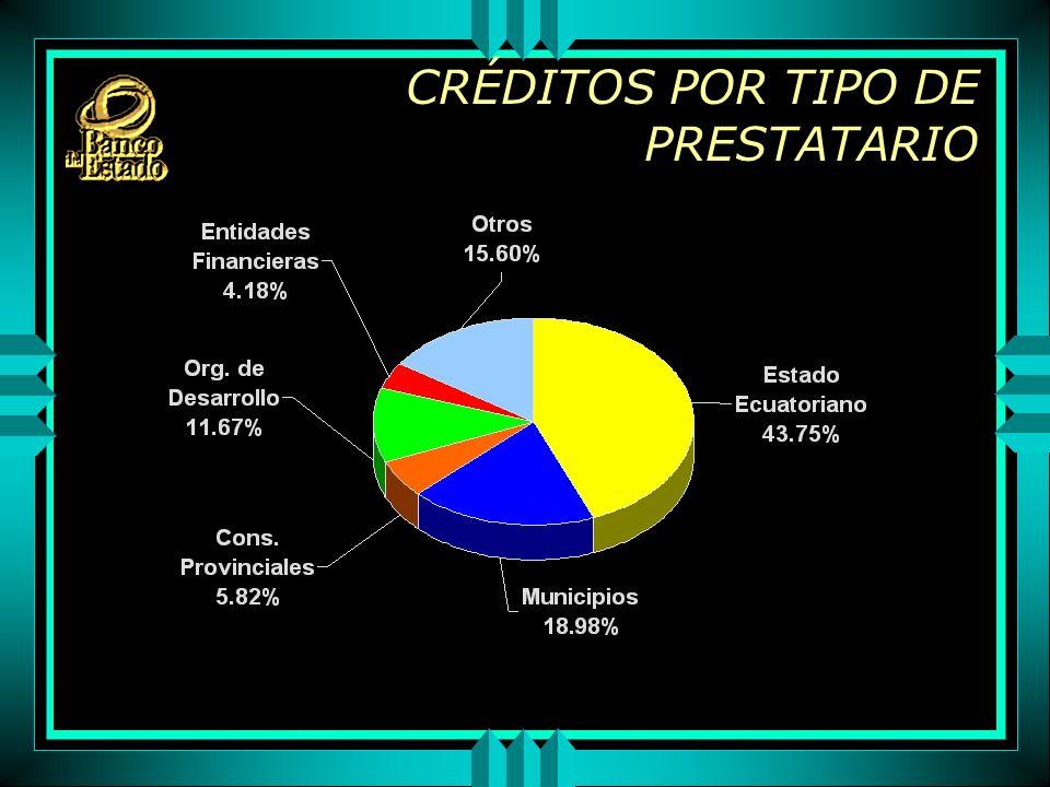CRÉDITOS POR TIPO DE PRESTATARIO