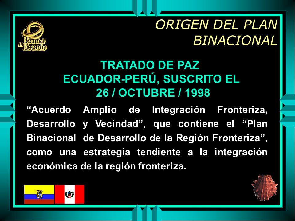ORIGEN DEL PLAN BINACIONAL TRATADO DE PAZ ECUADOR-PERÚ, SUSCRITO EL 26 / OCTUBRE / 1998 Acuerdo Amplio de Integración Fronteriza, Desarrollo y Vecindad, que contiene el Plan Binacional de Desarrollo de la Región Fronteriza, como una estrategia tendiente a la integración económica de la región fronteriza.