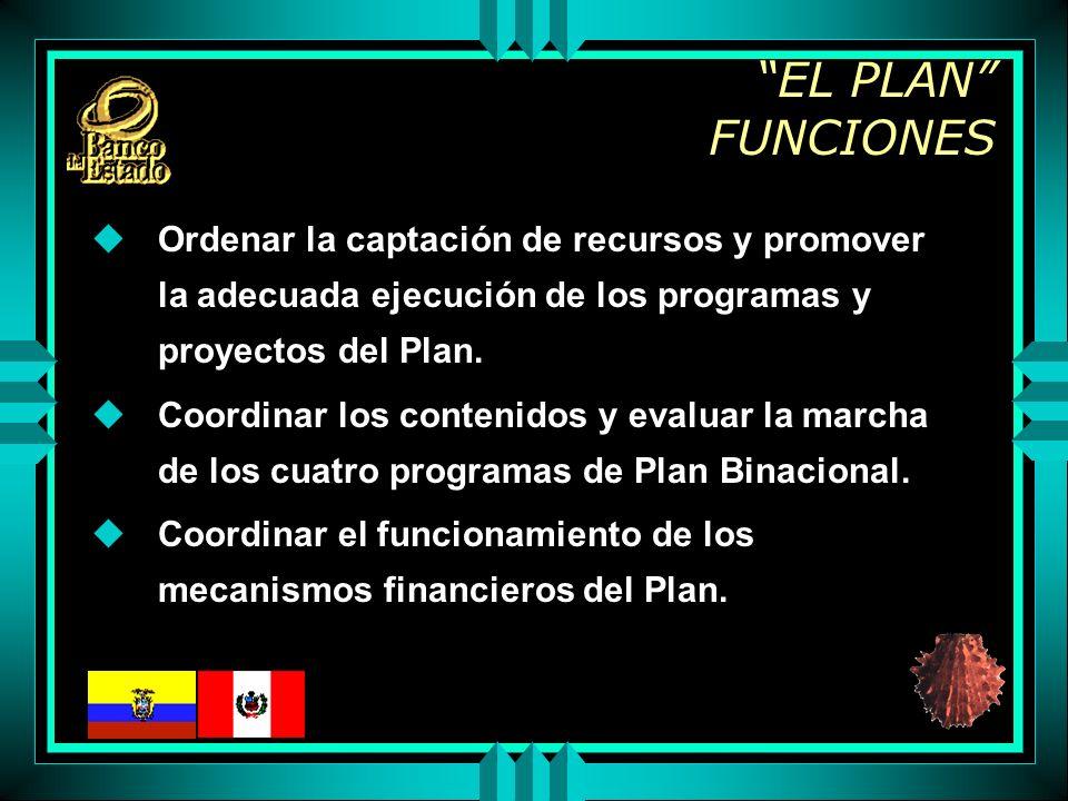 EL PLAN FUNCIONES uOrdenar la captación de recursos y promover la adecuada ejecución de los programas y proyectos del Plan.