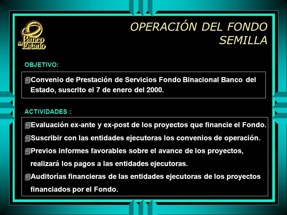 OPERACIÓN DEL FONDO SEMILLA 4Convenio de Prestación de Servicios Fondo Binacional Banco del Estado, suscrito el 7 de enero del 2000.