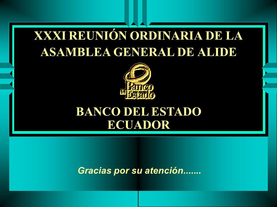 XXXI REUNIÓN ORDINARIA DE LA ASAMBLEA GENERAL DE ALIDE BANCO DEL ESTADO ECUADOR Gracias por su atención.......