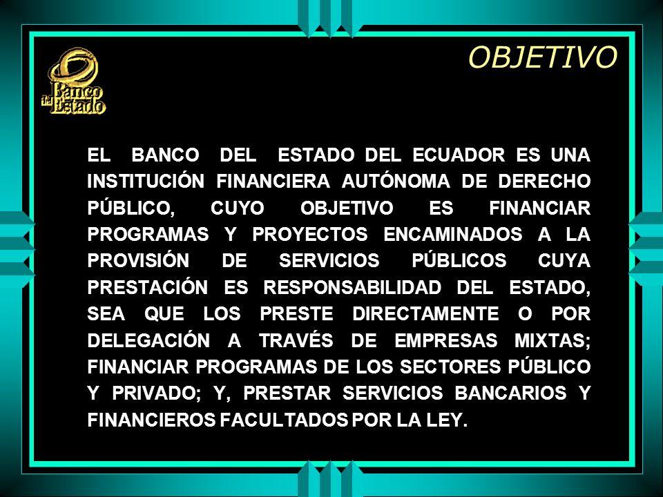 OBJETIVO EL BANCO DEL ESTADO DEL ECUADOR ES UNA INSTITUCIÓN FINANCIERA AUTÓNOMA DE DERECHO PÚBLICO, CUYO OBJETIVO ES FINANCIAR PROGRAMAS Y PROYECTOS ENCAMINADOS A LA PROVISIÓN DE SERVICIOS PÚBLICOS CUYA PRESTACIÓN ES RESPONSABILIDAD DEL ESTADO, SEA QUE LOS PRESTE DIRECTAMENTE O POR DELEGACIÓN A TRAVÉS DE EMPRESAS MIXTAS; FINANCIAR PROGRAMAS DE LOS SECTORES PÚBLICO Y PRIVADO; Y, PRESTAR SERVICIOS BANCARIOS Y FINANCIEROS FACULTADOS POR LA LEY.