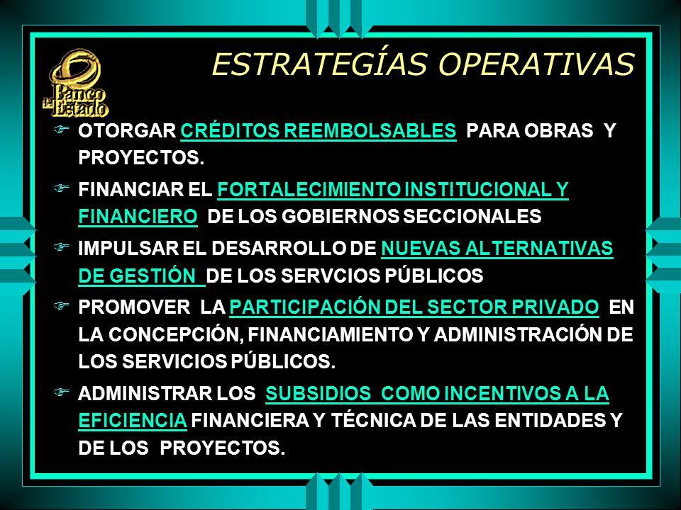 ESTRATEGÍAS OPERATIVAS F OTORGAR CRÉDITOS REEMBOLSABLES PARA OBRAS Y PROYECTOS.