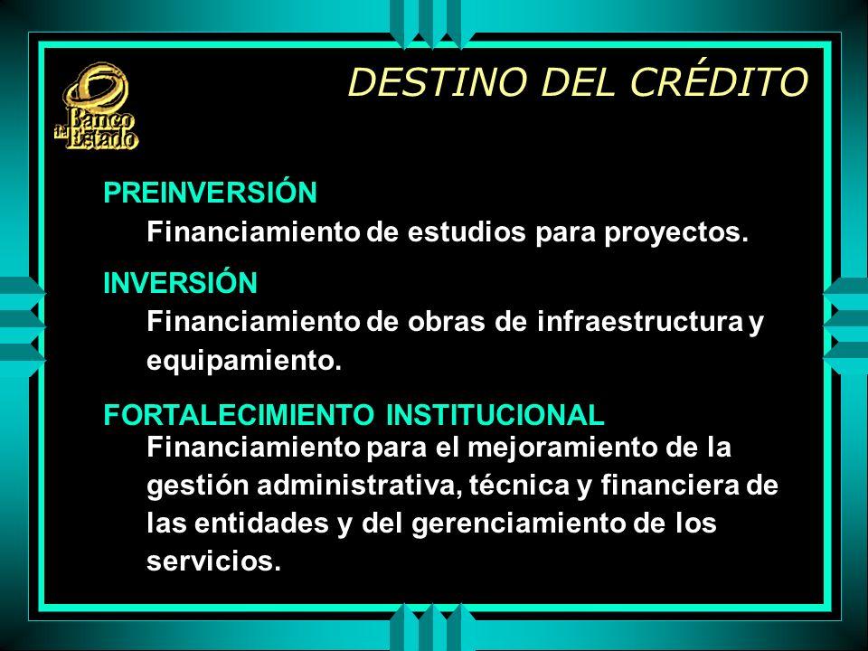 DESTINO DEL CRÉDITO PREINVERSIÓN Financiamiento de estudios para proyectos.