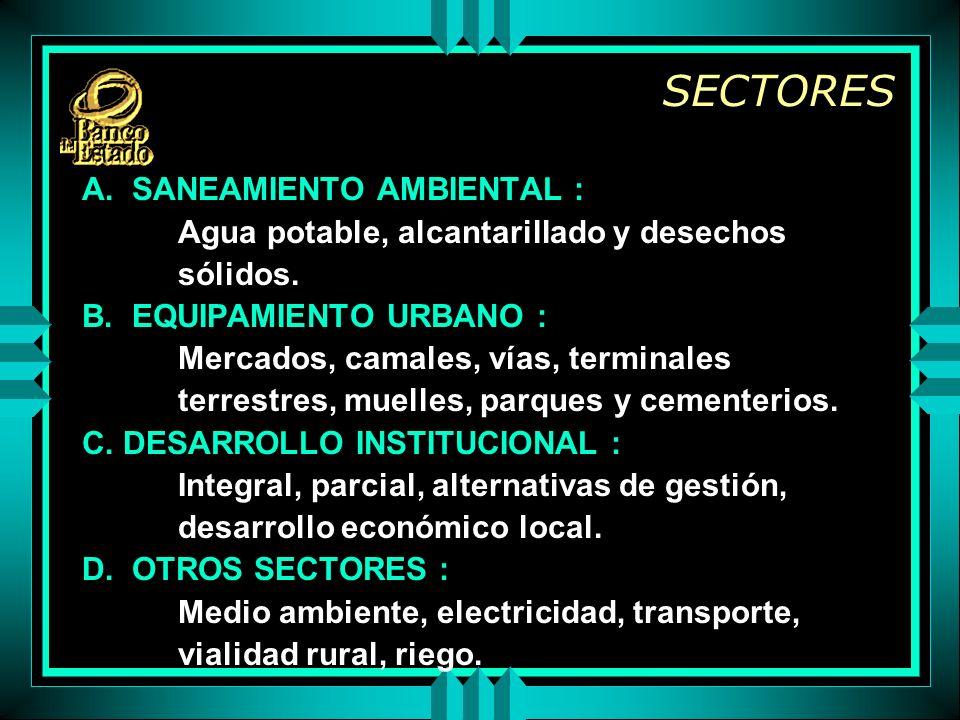 SECTORES A. SANEAMIENTO AMBIENTAL : Agua potable, alcantarillado y desechos sólidos.