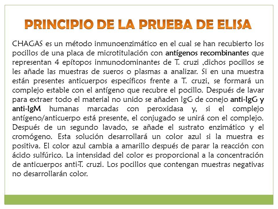 CHAGAS es un método inmunoenzimático en el cual se han recubierto los pocillos de una placa de microtitulación con antígenos recombinantes que represe