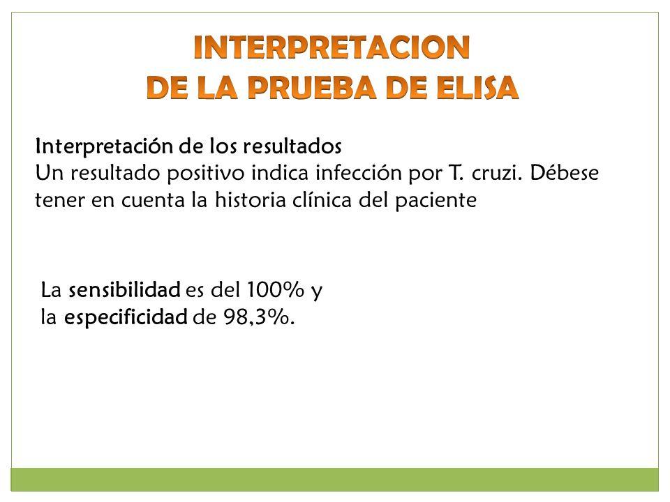Interpretación de los resultados Un resultado positivo indica infección por T. cruzi. Débese tener en cuenta la historia clínica del paciente La sensi