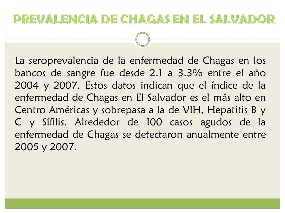 La seroprevalencia de la enfermedad de Chagas en los bancos de sangre fue desde 2.1 a 3.3% entre el año 2004 y 2007. Estos datos indican que el índice