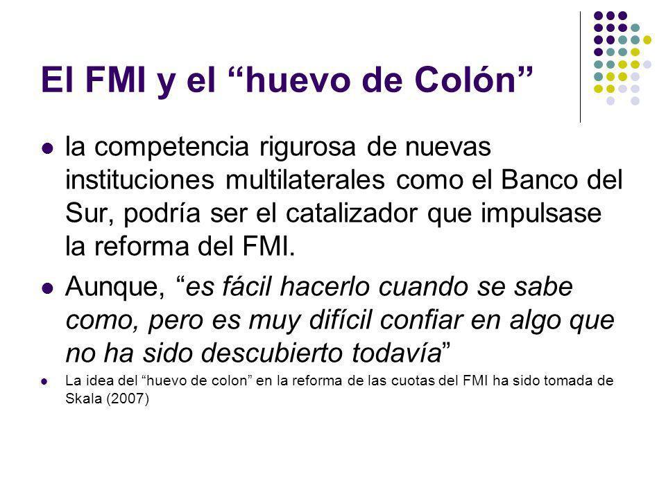 El FMI y el huevo de Colón la competencia rigurosa de nuevas instituciones multilaterales como el Banco del Sur, podría ser el catalizador que impulsase la reforma del FMI.