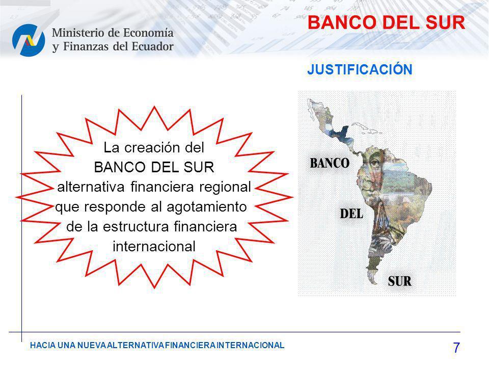 7 HACIA UNA NUEVA ALTERNATIVA FINANCIERA INTERNACIONAL BANCO DEL SUR La creación del BANCO DEL SUR alternativa financiera regional que responde al agotamiento de la estructura financiera internacional JUSTIFICACIÓN