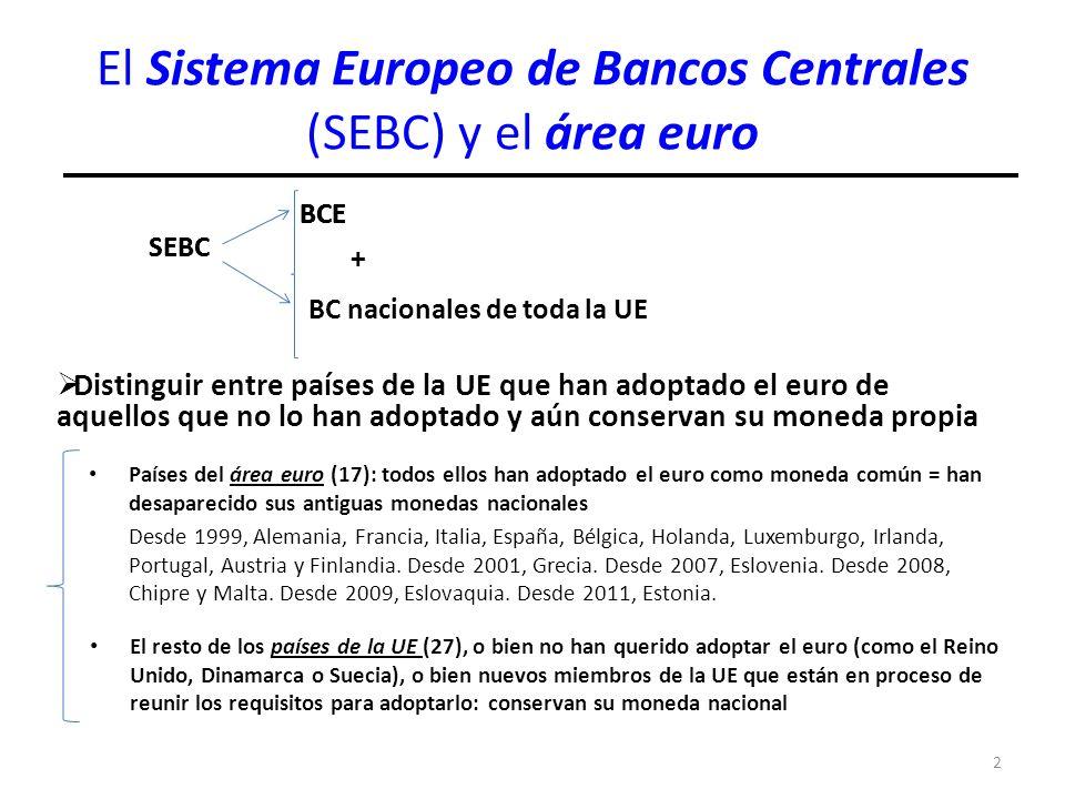 2 El Sistema Europeo de Bancos Centrales (SEBC) y el área euro SEBC BCE BC nacionales de toda la UE Distinguir entre países de la UE que han adoptado