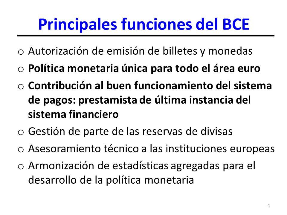 4 Principales funciones del BCE o Autorización de emisión de billetes y monedas o Política monetaria única para todo el área euro o Contribución al bu