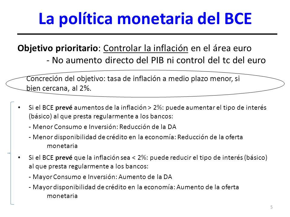 5 La política monetaria del BCE Objetivo prioritario: Controlar la inflación en el área euro - No aumento directo del PIB ni control del tc del euro C