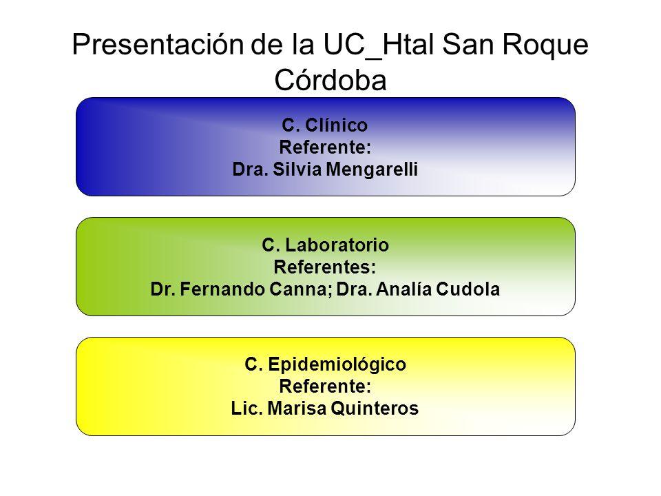 Presentación de la UC_Htal San Roque Córdoba C. Clínico Referente: Dra. Silvia Mengarelli C. Laboratorio Referentes: Dr. Fernando Canna; Dra. Analía C