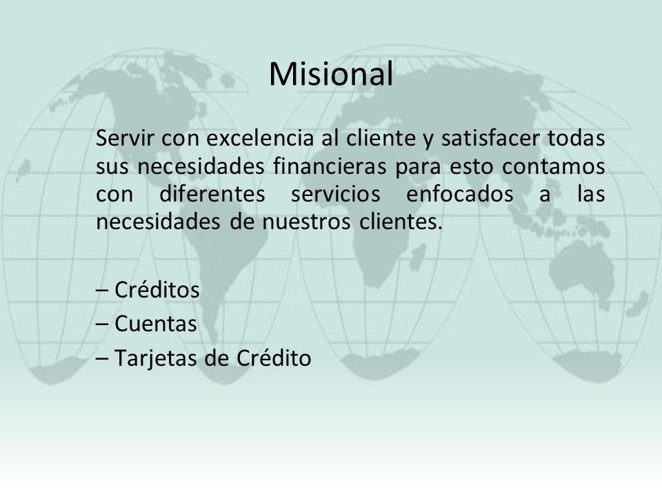 Misional Servir con excelencia al cliente y satisfacer todas sus necesidades financieras para esto contamos con diferentes servicios enfocados a las n