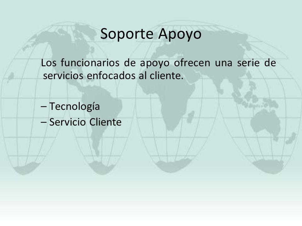 Soporte Apoyo Los funcionarios de apoyo ofrecen una serie de servicios enfocados al cliente. – Tecnología – Servicio Cliente