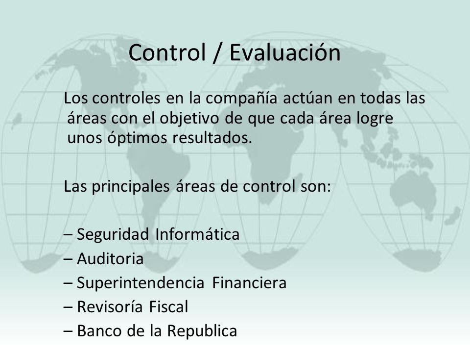 Control / Evaluación Los controles en la compañía actúan en todas las áreas con el objetivo de que cada área logre unos óptimos resultados. Las princi
