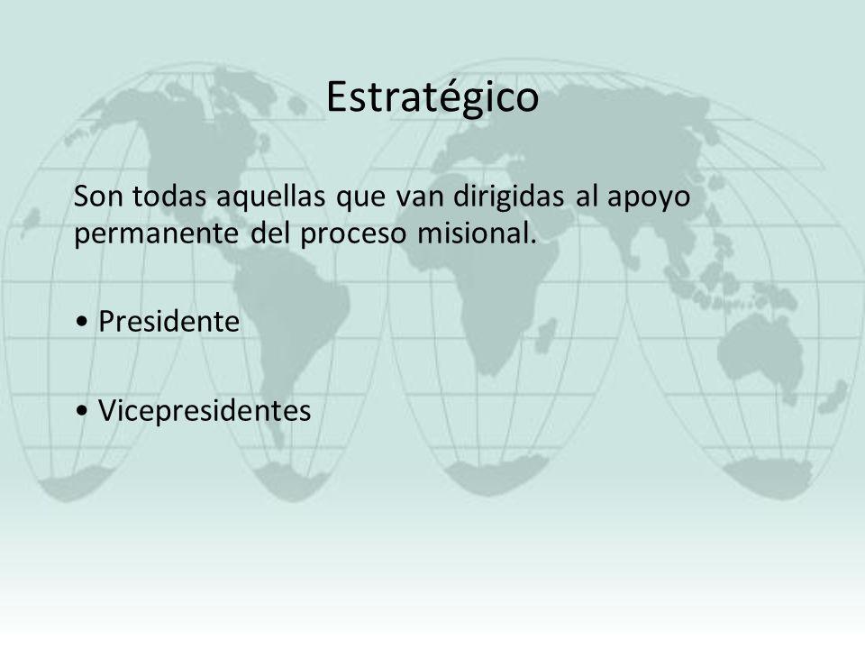 Estratégico Son todas aquellas que van dirigidas al apoyo permanente del proceso misional. Presidente Vicepresidentes