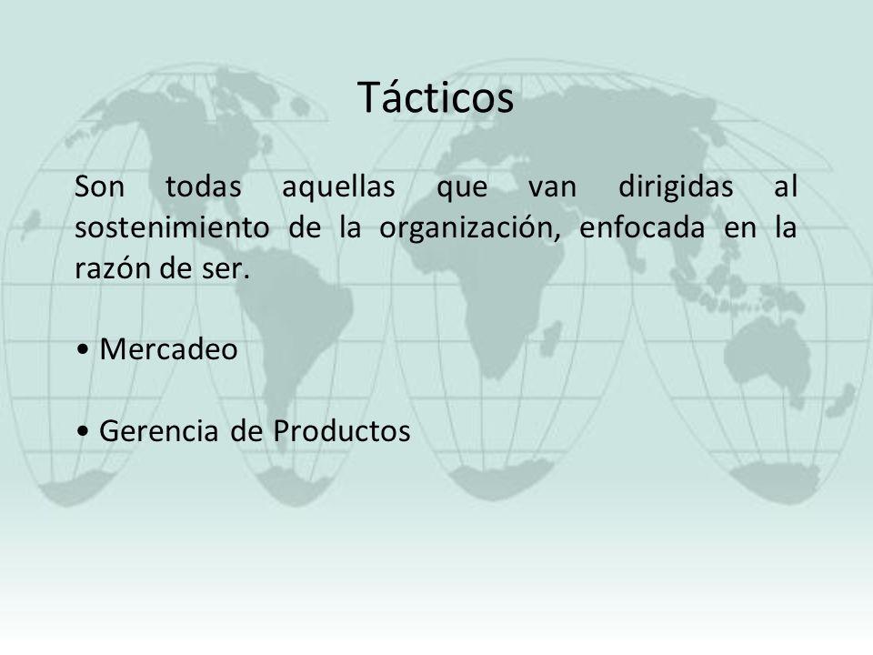 Tácticos Son todas aquellas que van dirigidas al sostenimiento de la organización, enfocada en la razón de ser. Mercadeo Gerencia de Productos