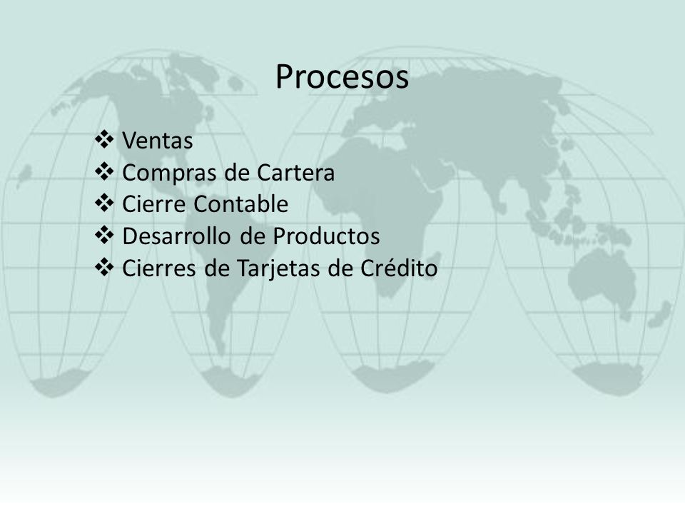 Procesos Ventas Compras de Cartera Cierre Contable Desarrollo de Productos Cierres de Tarjetas de Crédito