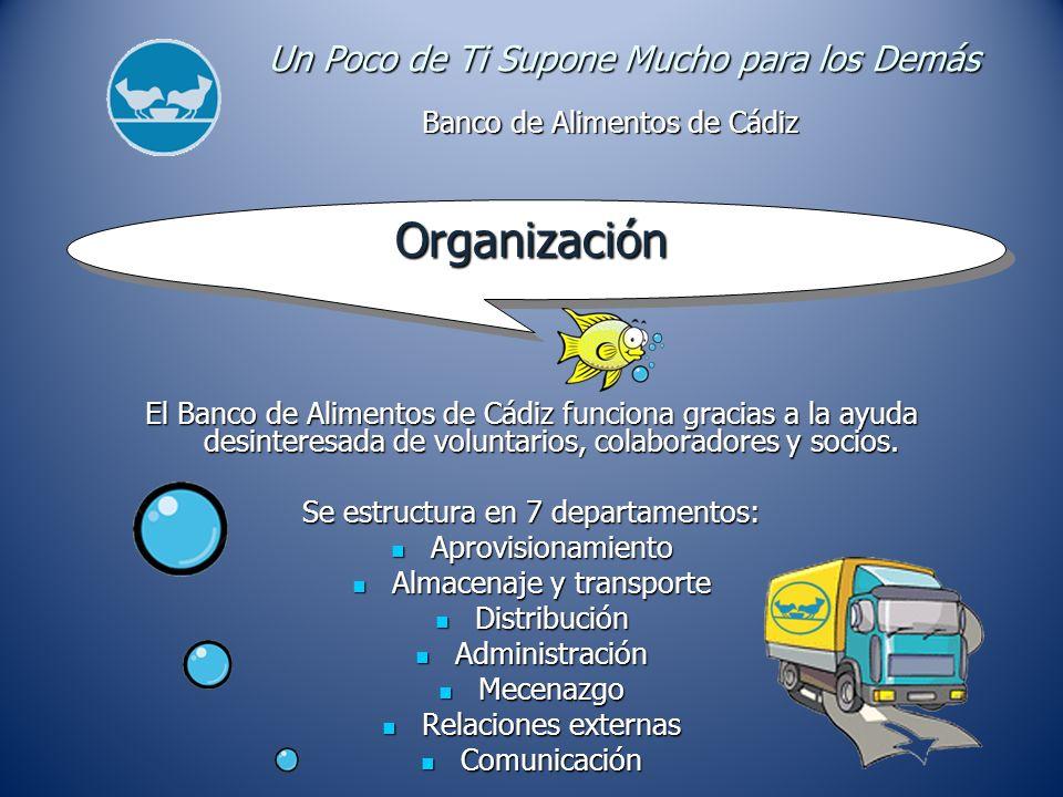 Organización El Banco de Alimentos de Cádiz funciona gracias a la ayuda desinteresada de voluntarios, colaboradores y socios.