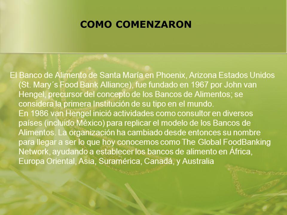 COMO COMENZARON El Banco de Alimento de Santa María en Phoenix, Arizona Estados Unidos (St. Mary´s Food Bank Alliance), fue fundado en 1967 por John v
