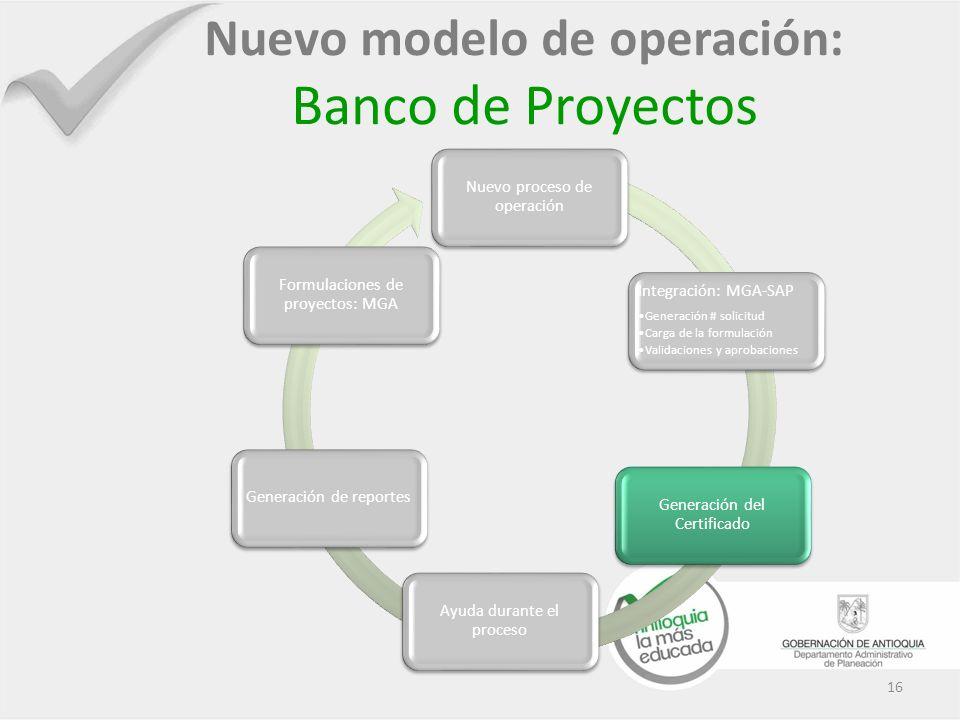 16 Nuevo modelo de operación: Banco de Proyectos Nuevo proceso de operación Integración: MGA-SAP Generación # solicitud Carga de la formulación Valida