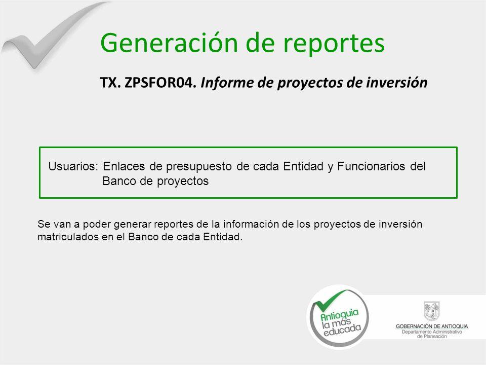 Generación de reportes TX. ZPSFOR04. Informe de proyectos de inversión Usuarios: Enlaces de presupuesto de cada Entidad y Funcionarios del Banco de pr