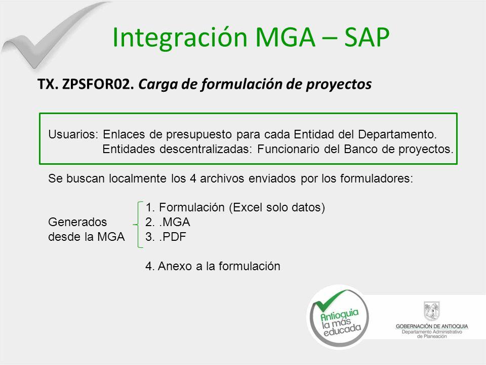 Integración MGA – SAP TX. ZPSFOR02. Carga de formulación de proyectos Usuarios: Enlaces de presupuesto para cada Entidad del Departamento. Entidades d