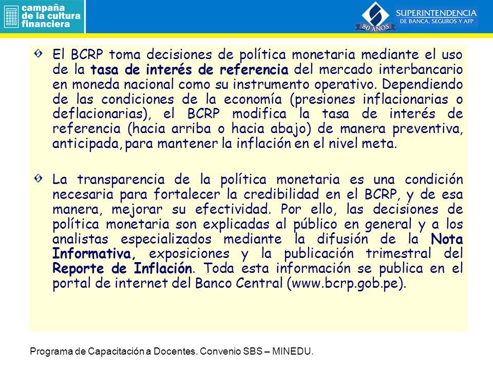 El BCRP toma decisiones de política monetaria mediante el uso de la tasa de interés de referencia del mercado interbancario en moneda nacional como su instrumento operativo.