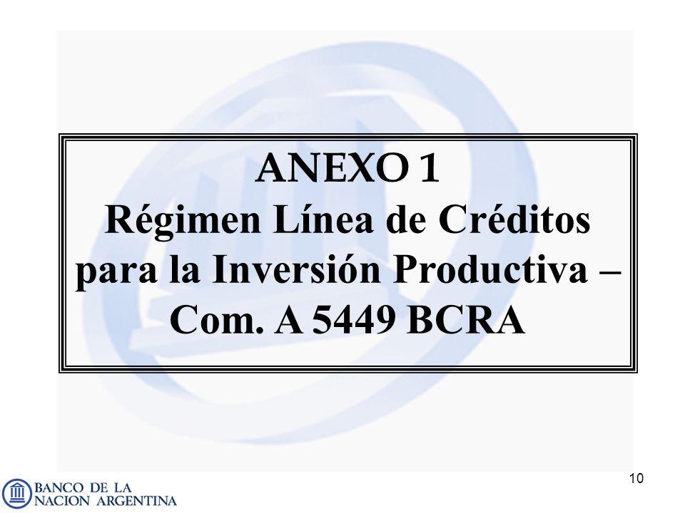 10 ANEXO 1 Régimen Línea de Créditos para la Inversión Productiva – Com. A 5449 BCRA