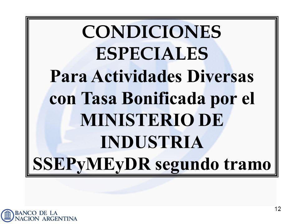 12 CONDICIONES ESPECIALES Para Actividades Diversas con Tasa Bonificada por el MINISTERIO DE INDUSTRIA SSEPyMEyDR segundo tramo