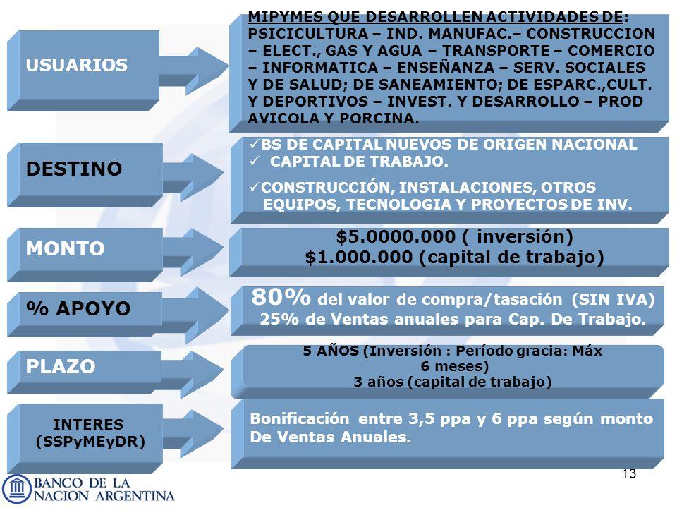 13 DESTINO BS DE CAPITAL NUEVOS DE ORIGEN NACIONAL CAPITAL DE TRABAJO. CONSTRUCCIÓN, INSTALACIONES, OTROS EQUIPOS, TECNOLOGIA Y PROYECTOS DE INV. MONT