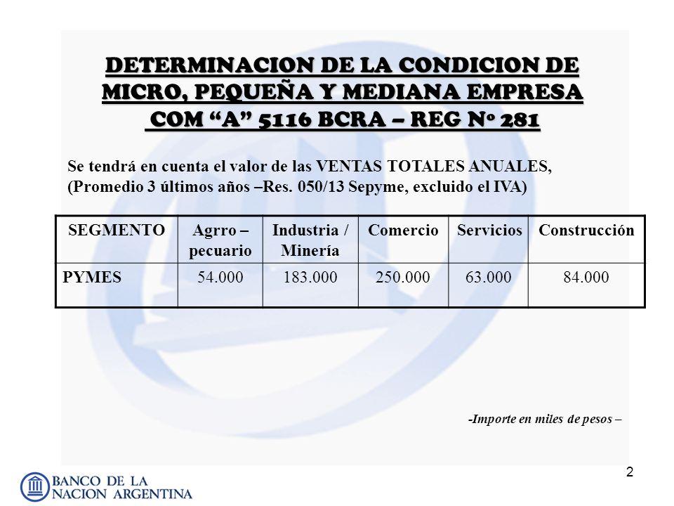 2 DETERMINACION DE LA CONDICION DE MICRO, PEQUEÑA Y MEDIANA EMPRESA COM A 5116 BCRA – REG Nº 281 SEGMENTOAgrro – pecuario Industria / Minería Comercio