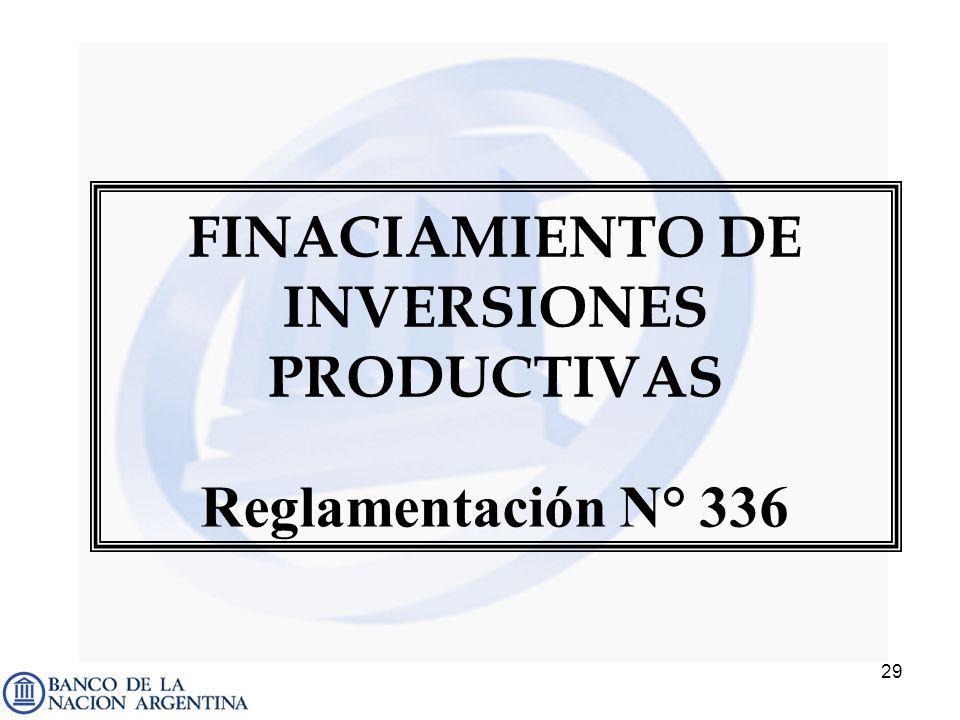 29 FINACIAMIENTO DE INVERSIONES PRODUCTIVAS Reglamentación N° 336