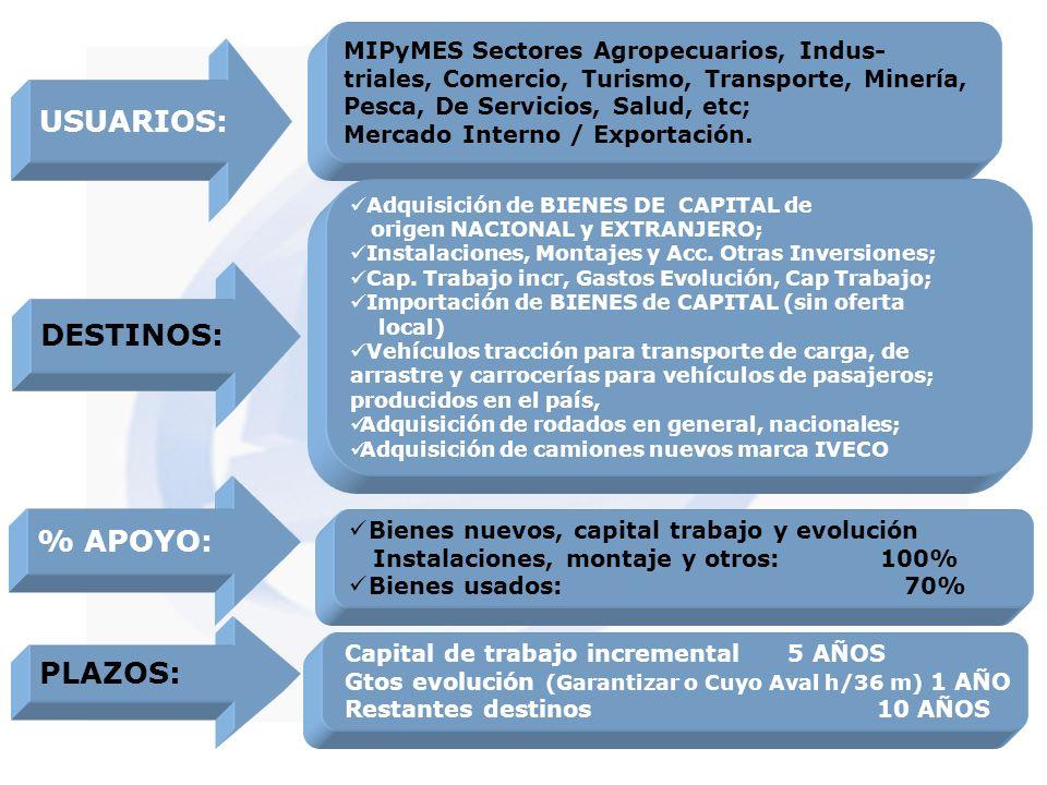 USUARIOS: MIPyMES Sectores Agropecuarios, Indus- triales, Comercio, Turismo, Transporte, Minería, Pesca, De Servicios, Salud, etc; Mercado Interno / E