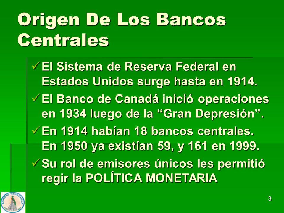 3 El Sistema de Reserva Federal en Estados Unidos surge hasta en 1914. El Sistema de Reserva Federal en Estados Unidos surge hasta en 1914. El Banco d