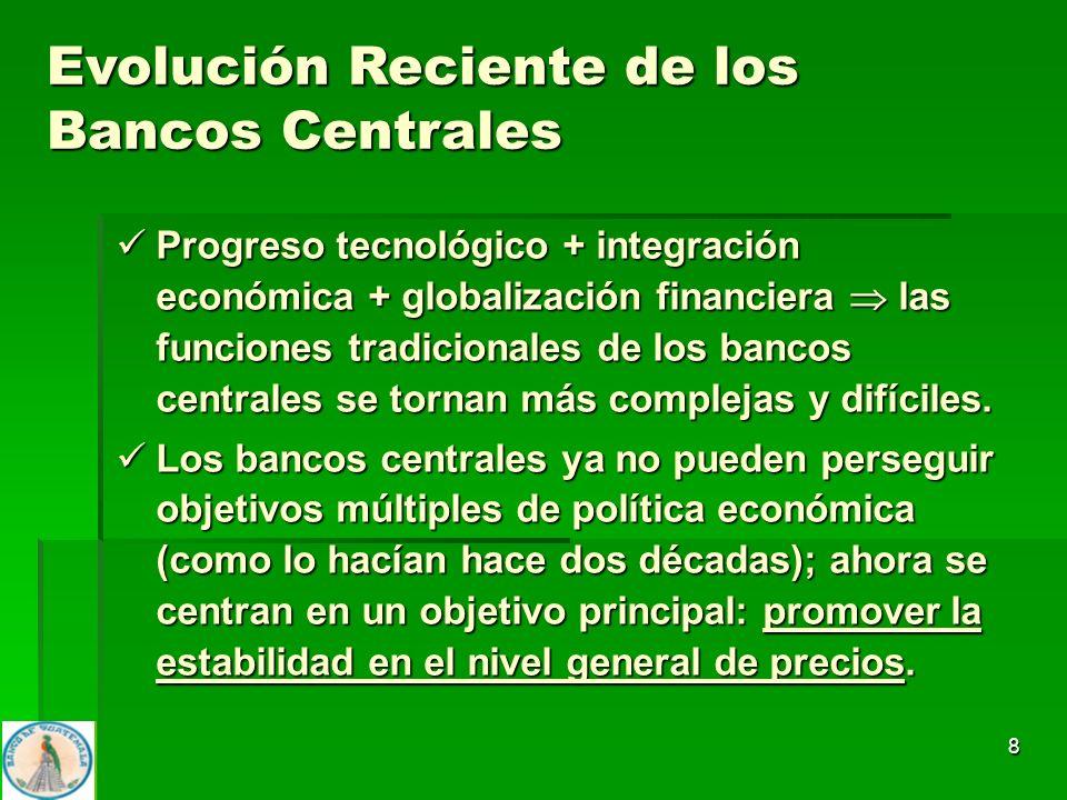 8 Progreso tecnológico + integración económica + globalización financiera las funciones tradicionales de los bancos centrales se tornan más complejas