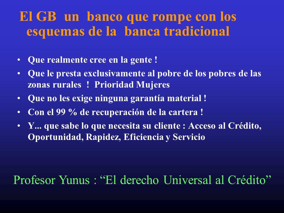 El GB un banco que rompe con los esquemas de la banca tradicional Que realmente cree en la gente ! Que le presta exclusivamente al pobre de los pobres