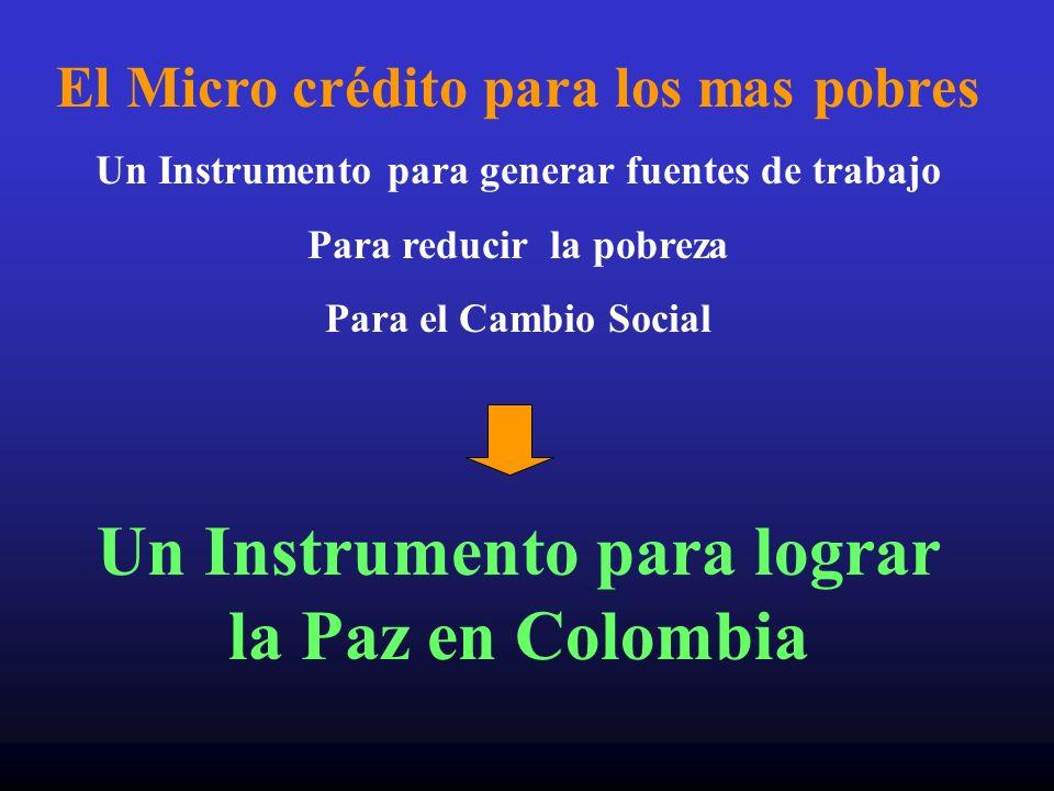 El Micro crédito para los mas pobres Un Instrumento para generar fuentes de trabajo Para reducir la pobreza Para el Cambio Social Un Instrumento para
